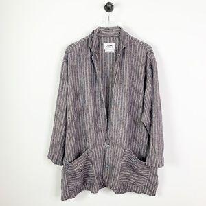Flax 100% linen lagenlook striped button shirt